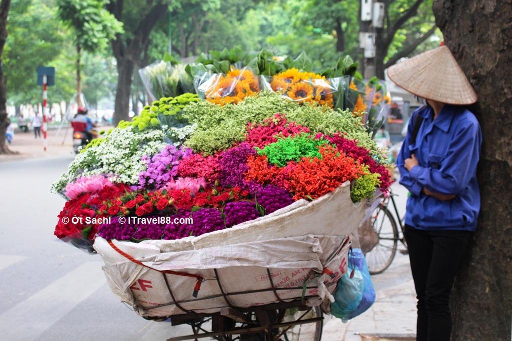 người bán hoa trên đường Phan Đình Phùng