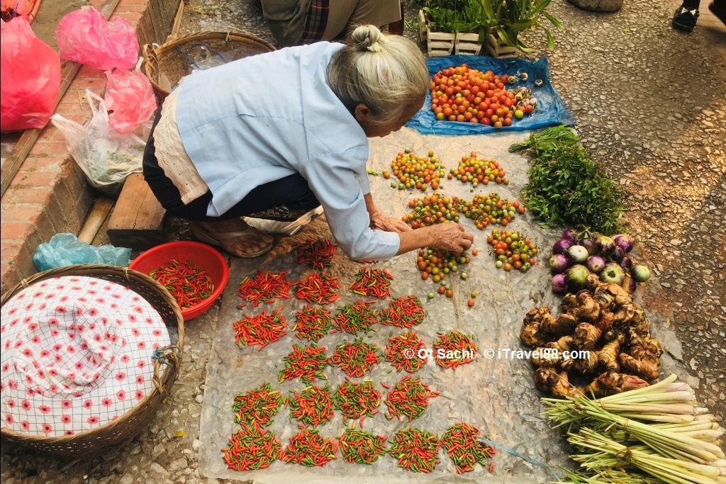 Một bà cụ bán rau ở chợ Luang,  kinh nghiệm du lịch Luang Prabang tự túc từ A-Z