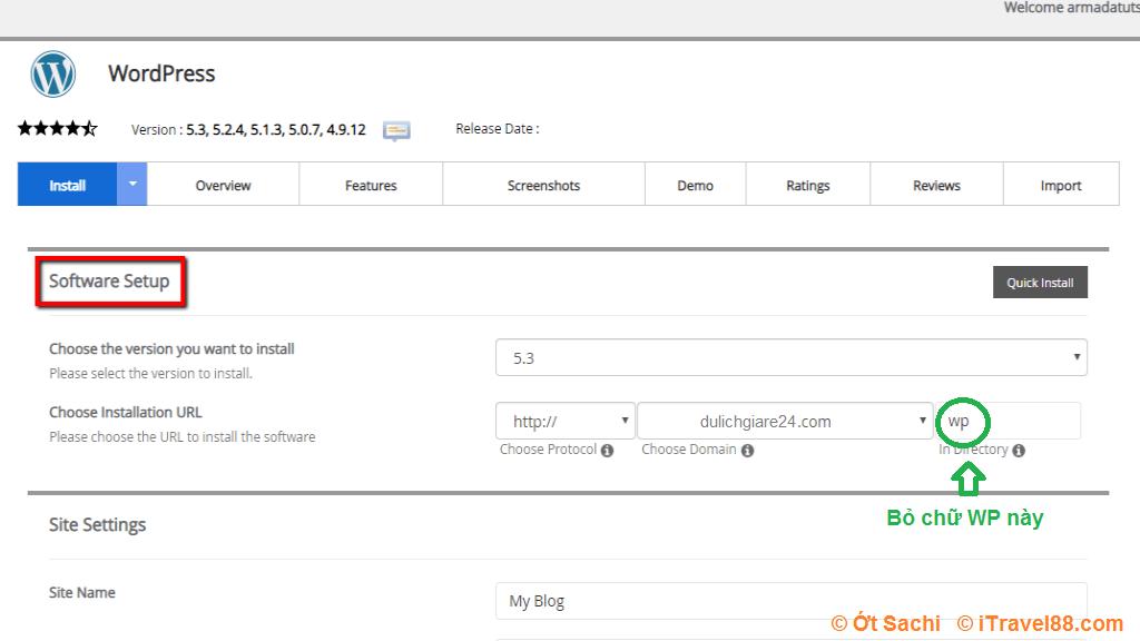 Nhớ bỏ chữ WP khi thiết lập URL link