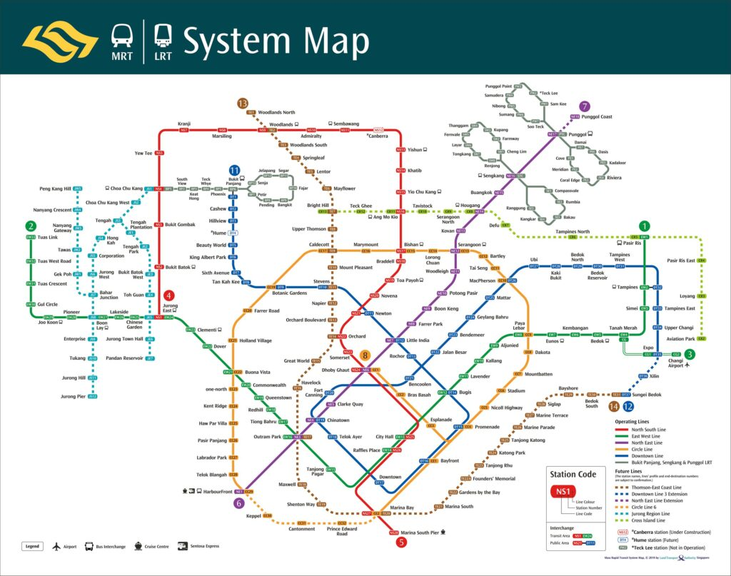 Sơ đồ tàu điện ngầm ở Singapore