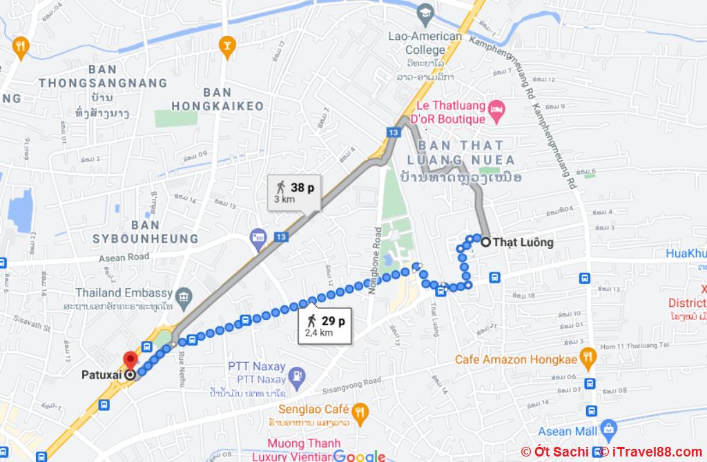 Cách di chuyển từ Patuxai đến Pha That Luang