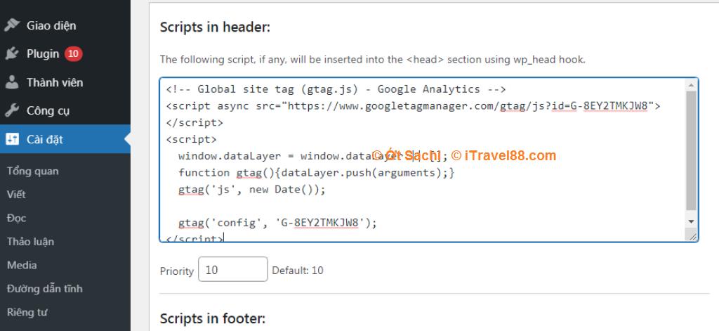 Cách 2: chèn mã Tracking dạng G vào plugin Header and footer scripts