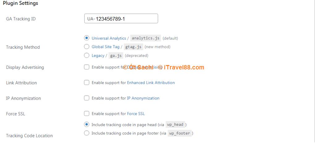 Chèn mã Tracking ID vào plugin GA Google analytics