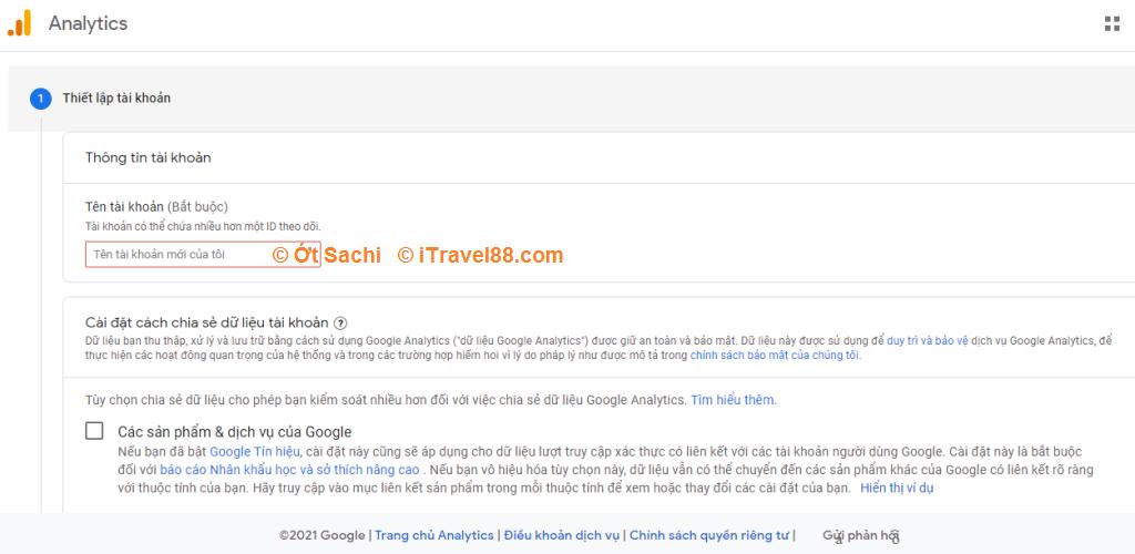 Thiết lập tài khoản - Cách cài đặt google analytics