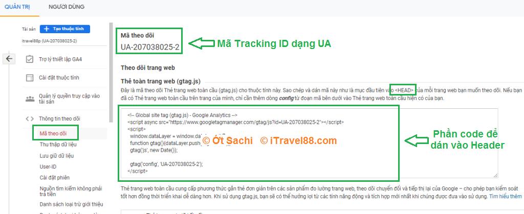 Mã Tracking ID cho website/blog