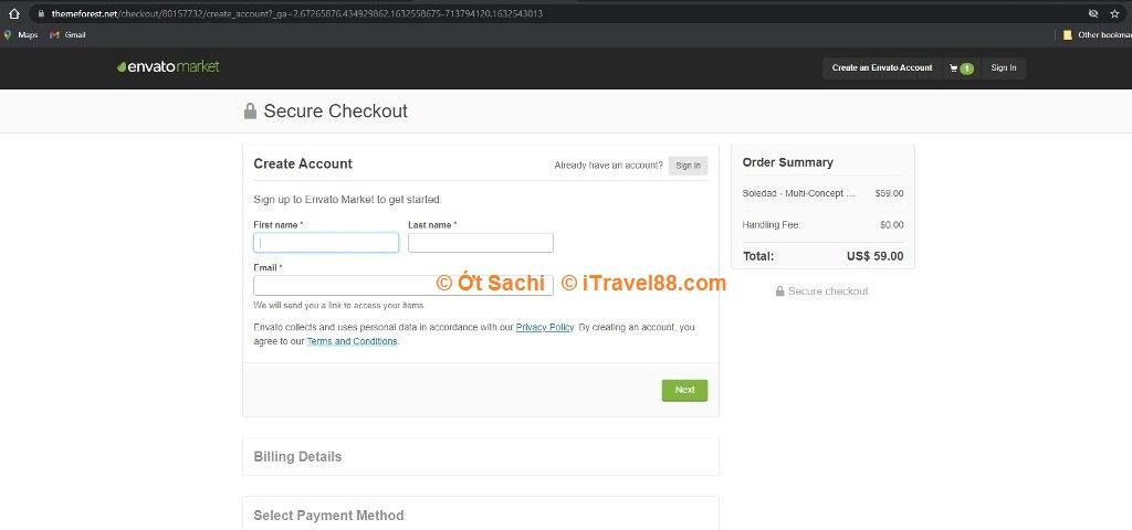 Lập tài khoản Envato để thực hiện giao dịch